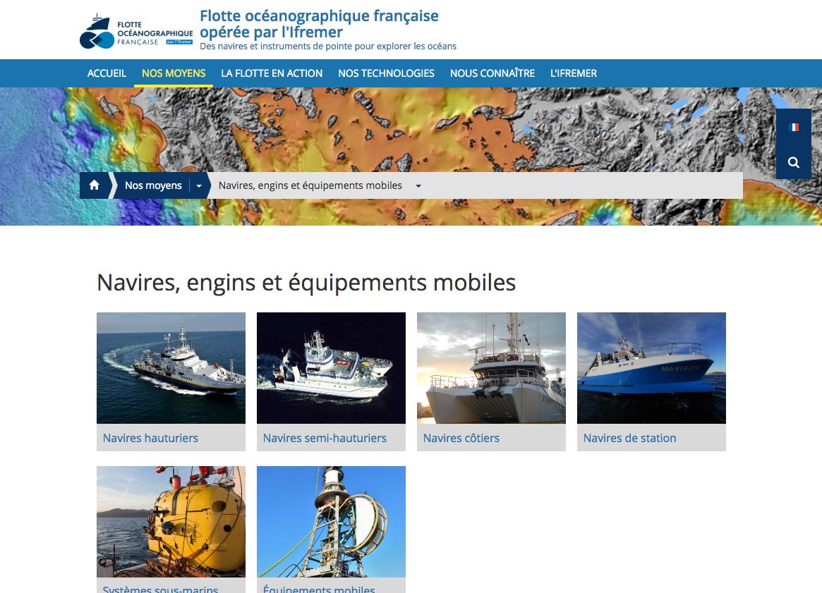 Navires engins et équipements mobiles Flotte océanographique française opérée par l Ifremer